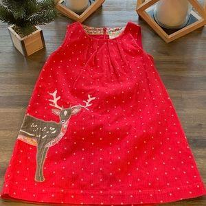Mini Boden Cord Deer Appliqué Pinafore Dress 6 7